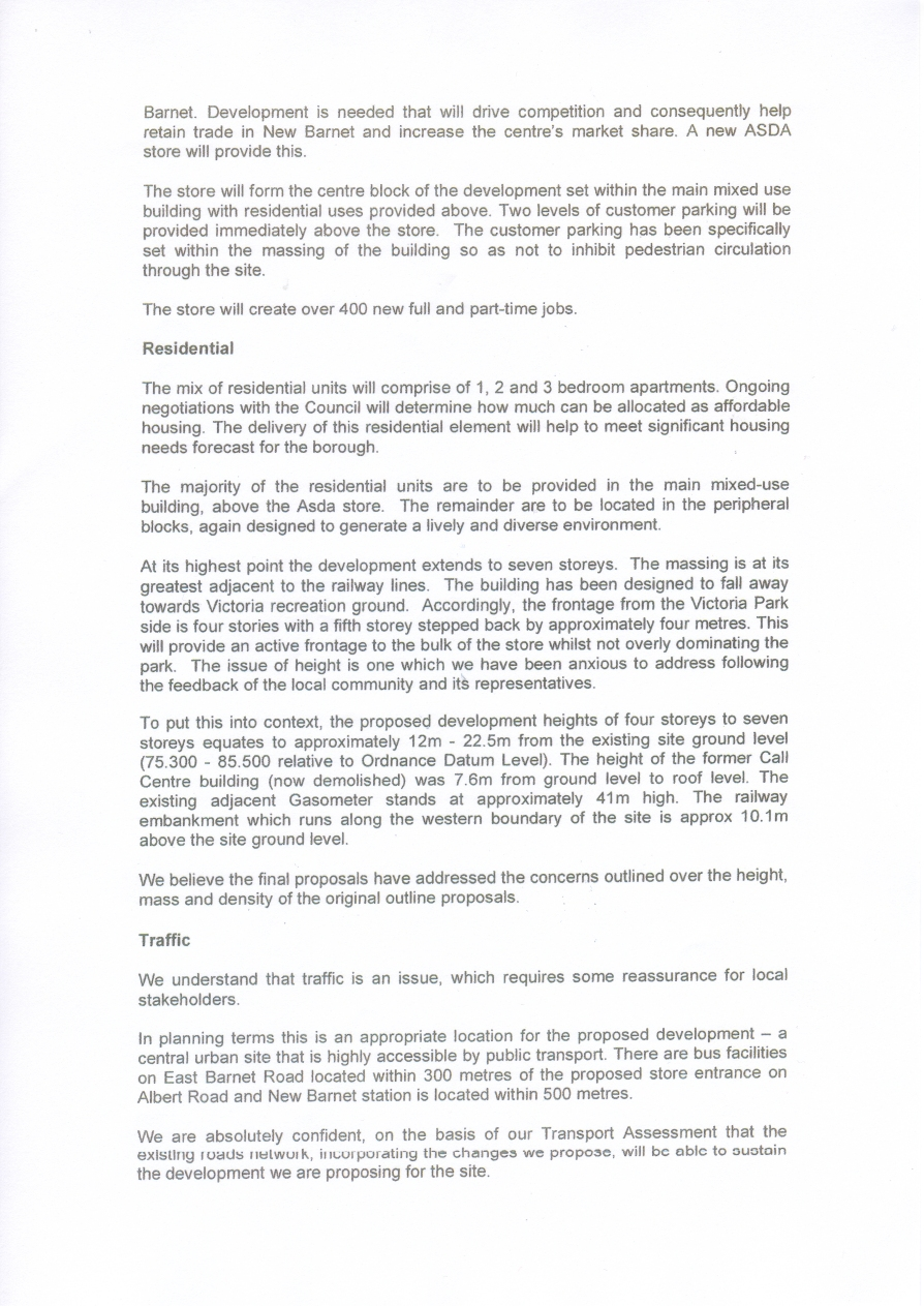 New Barnet | Documents - ASDA | Letter to NBCA 27 Aug 08