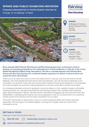Fairview New Homes and One Housing victoria quarter second public exhibition invitation pdf